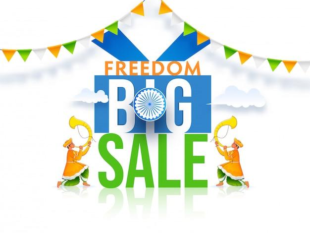 Affiche de grande vente de liberté avec roue ashoka et hommes soufflant la corne de tutari sur fond blanc brillant.