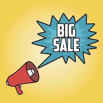 Affiche de grande vente avec mégaphone. haut-parleur avec discours de bulle. illustration vectorielle.