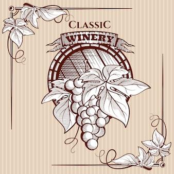 Affiche graphique avec grappe de raisin et éléments de vigne