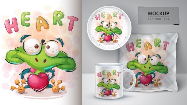 Affiche de grenouille d'amour et merchandising
