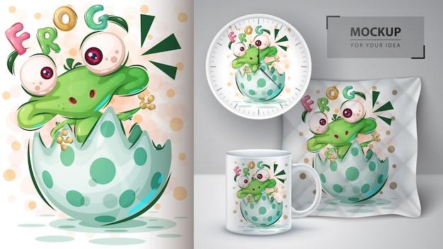 Affiche de grenouille heureuse et merchandising