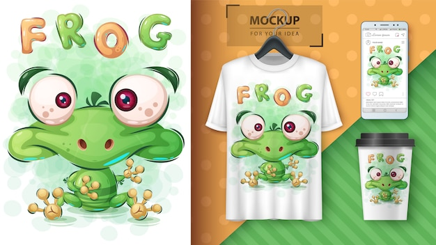 Affiche de grenouille verte et merchandising