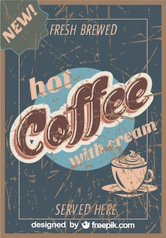 Affiche grunge de café cru