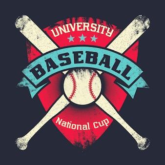 Affiche grunge vintage de baseball avec bouclier, étoiles, chauves-souris croisées et balle