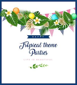 Affiche avec guirlande à thème tropical avec des drapeaux de fleurs de feuilles de palmier et des ballons