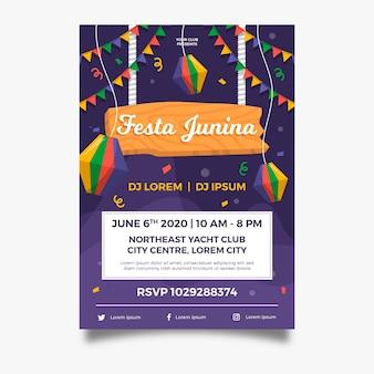 Affiche de guirlandes festa junina design plat