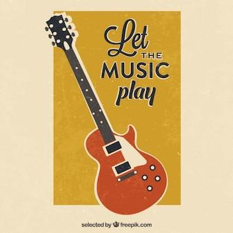 Affiche de guitare rétro