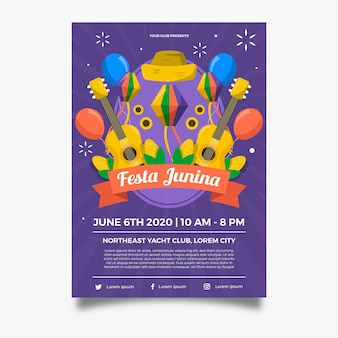 Affiche de guitares et ballons festa junina design plat