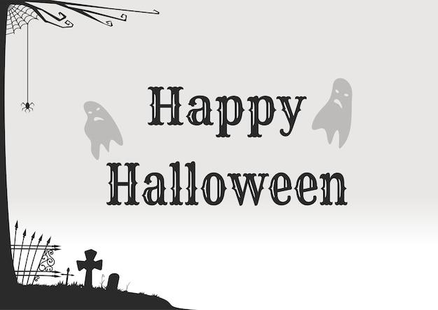 Affiche d'halloween dans un style rétro. joyeux halloween. conception de concept pour halloween avec un cimetière et des fantômes. illustration vectorielle