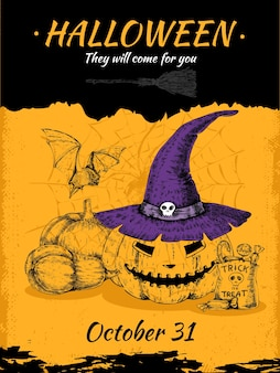 Affiche de halloween dessinée à la main