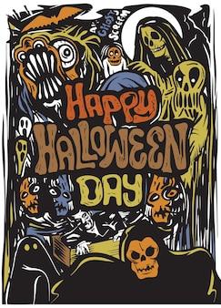 Affiche d'halloween dessinés à la main, carte, fond.