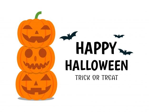 Affiche halloween avec diable citrouille sourire