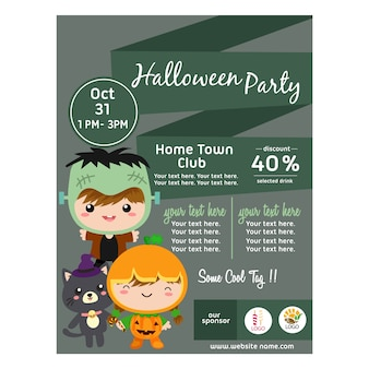 Affiche d'halloween avec des enfants costume frankenstein style plat
