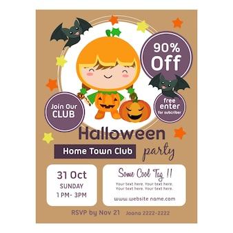 Affiche d'halloween avec des enfants mignons de clown de citrouille