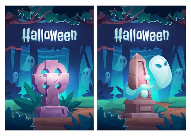 Affiche d'halloween avec des fantômes sur le vieux cimetière