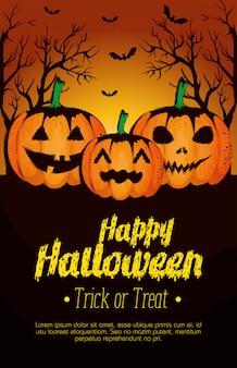 Affiche d'halloween heureux avec des citrouilles
