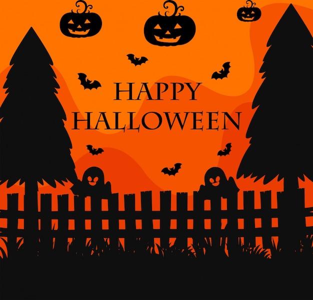 Affiche d'halloween heureux avec fond de silhouette de cimetière