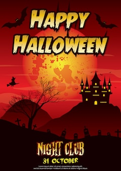 Affiche d'halloween heureux et invitation avec la conception du château de sorcière. nuit d'horreur. octobre