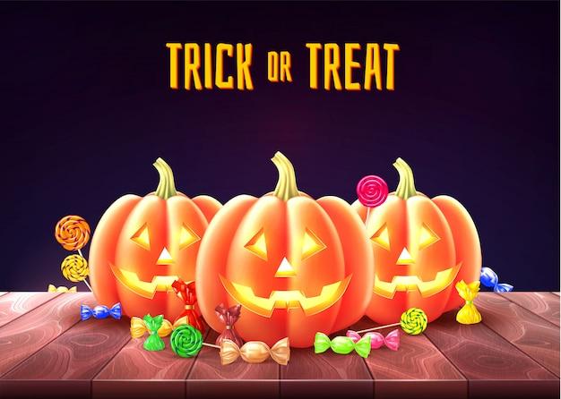 Affiche de halloween heureux jack lanternes gourde
