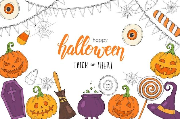 Affiche d'halloween avec jack citrouille dessiné à la main, chapeau de sorcière, balai, chapeau, bonbons, racines de bonbons, cercueil, pot avec potion `` bonbons ou friandises ''. croquis, lettrage. bannière d'halloween, dépliant, brochure. publicité