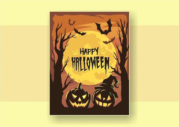 Affiche de halloween joyeux design plat