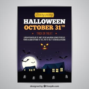 Affiche de halloween avec des maisons
