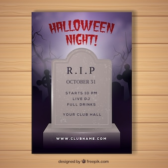 Affiche de halloween avec pierre tombale réaliste