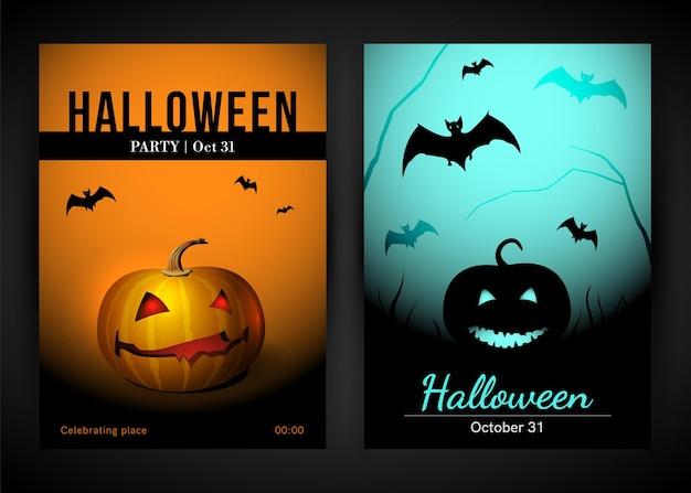 Affiche d'halloween sertie de couverture d'illustration vectorielle citrouille et chauve-souris
