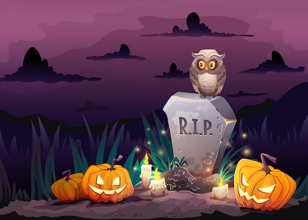 Affiche d'halloween avec le vieux hibou de tombe de pierre tombale et les citrouilles effrayantes dans le cimetière