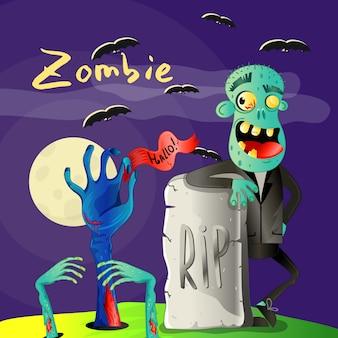 Affiche d'halloween avec zombie près de pierre tombale déchirée