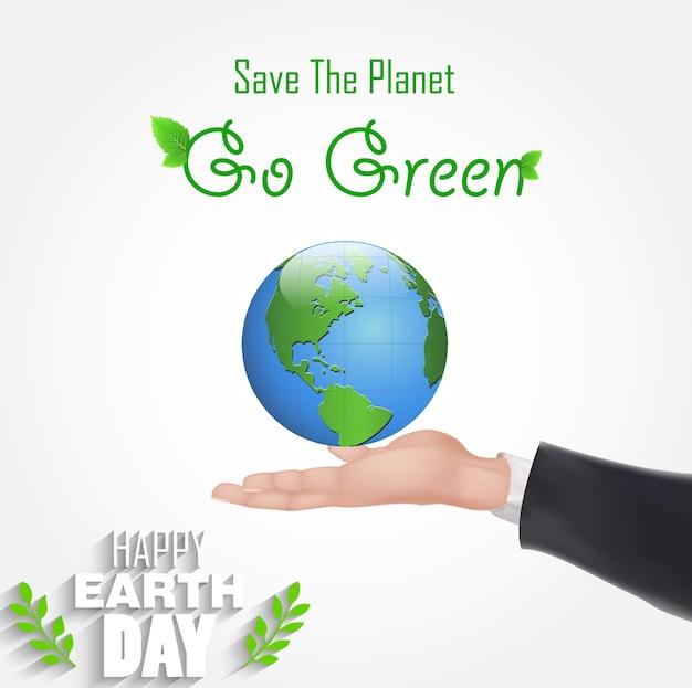 Affiche happy day avec un globe de tenue de main