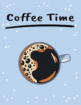 Affiche de l'heure du café avec une tasse de café noir