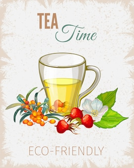 Affiche de l'heure du thé avec des fleurs et des feuilles