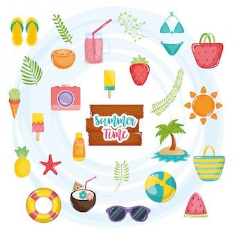 Affiche de l'heure d'été avec étiquette en bois et icônes