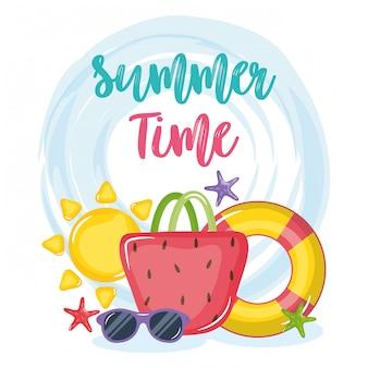 Affiche de l'heure d'été avec des icônes de vacances