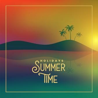 Affiche de l'heure d'été avec scène de coucher de soleil sur la plage