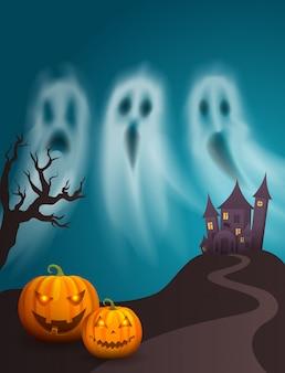 Affiche heureuse de halloween de château effrayant de colline