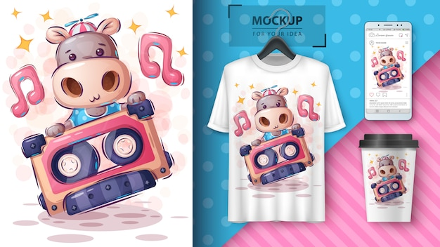 Affiche hippopotame de musique et merchandising