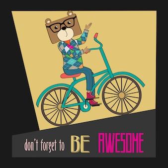 Affiche hipster avec vélo d'équitation nerd