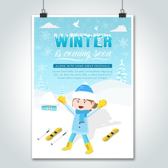 Affiche d'hiver de dessin animé pour fille de ski