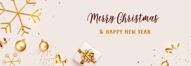 Affiche horizontale de bannière joyeux noël et nouvel an