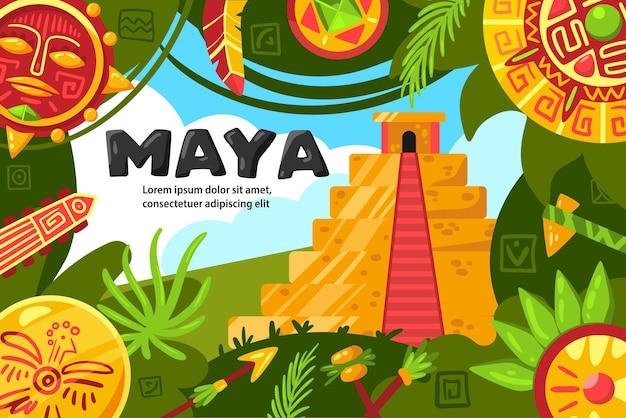 Affiche horizontale de la civilisation maya avec collage d'anciens feuillages tropicaux pyramidaux et illustration d'objets d'artefacts de bijoux ronds