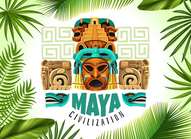 Affiche horizontale de civilisation maya