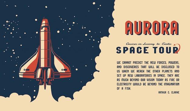 Affiche horizontale colorée de découverte de l'espace