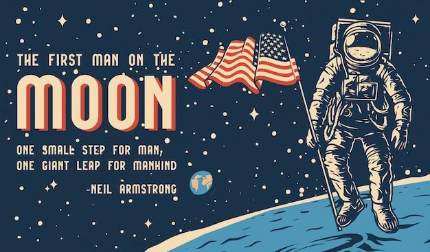 Affiche horizontale colorée vintage de l'espace