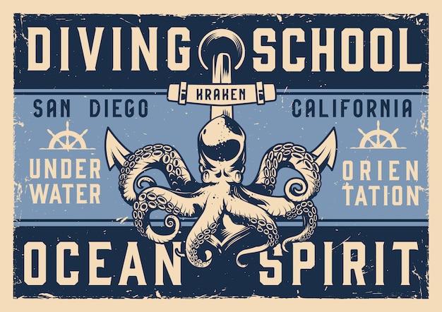 Affiche horizontale de l'école de plongée vintage