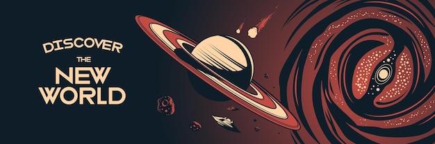 Affiche horizontale de l'espace