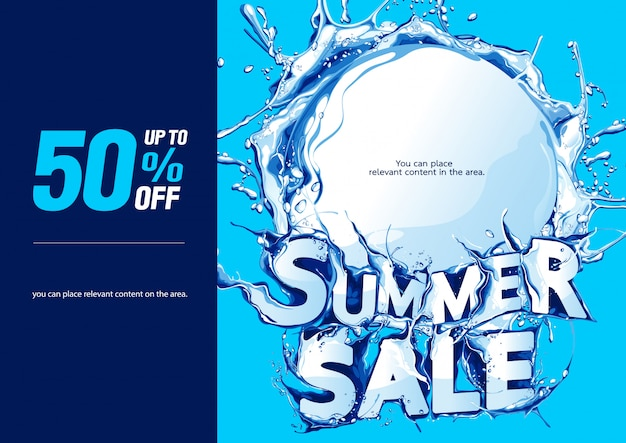 Affiche horizontale fond de vente d'été