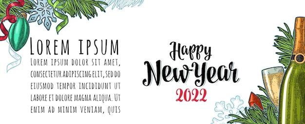 Affiche horizontale happy new year 2022 lettrage de calligraphie. gravure de couleur vintage de vecteur