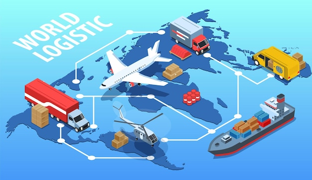 Affiche horizontale logistique mondiale avec différentes icônes isométriques de mode de transport sur l'illustration de fond bleu de carte du monde